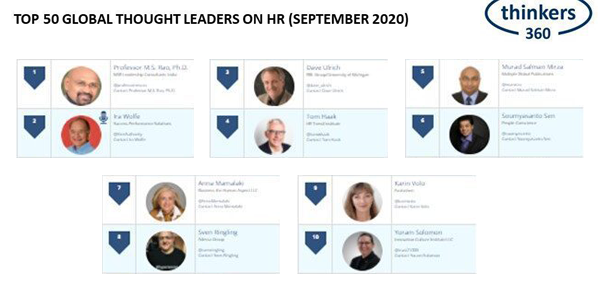 Karin Volo was ranked #9 on the Top 50 Global Thought Leaders on HR by Thinkers360